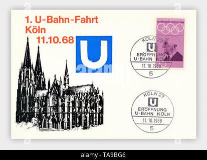 Ersttagsbriefe der Deutschen Bundespost, 1. U-Bahnfahrt in Köln am 11.10.1968, Deutschland, Europa - Stock Photo
