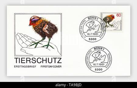 Ersttagsbriefe der Deutschen Bundespost, Tierschutz, 1981, Deutschland, Europa - Stock Photo