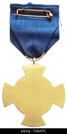 Free City of Danzig - a faithful service decoration in gold (1st class) Cupal, gilt with polished edges, on a blue ribbon for wear. A rare original, as per regulations. historic, historical, awards, award, German Reich, Third Reich, Nazi era, National Socialism, object, objects, stills, medal, decoration, medals, decorations, clipping, cut out, cut-out, cut-outs, honor, honour, National Socialist, Nazi, Nazi period, 20th century, Editorial-Use-Only - Stock Photo