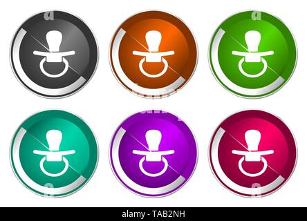 Nipple symbol, set of silver metallic round icons in six colors options isolated on white background, modern design vector illustration - Stock Photo