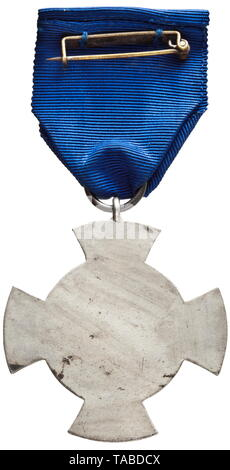 Free City of Danzig - a collection of awards and documents belonging to Wilhelm Eckert, customs secretary (Faithful Service Decoration) The original issue of the Danzig Faithful Service Decoration in Silver, made of silver laminated cupal with polished edges, on the ribbon, with safety pin fastener. Width 45.7 mm. Weight including ribbon 22.8 g. Also, the A 4-sized award document, printed in colour on carton with the blind embossed seal of the Senate of the Free City of Danzig. Issued 10 October 1938 to 'Zollsekretär Wilhelm Eckert' and bearing the original signature of Sen, Editorial-Use-Only - Stock Photo