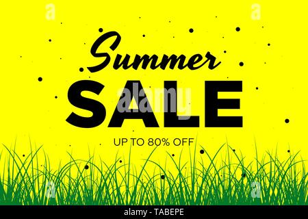 Summer sale offer promotion banner with beautiful flowers and grass. Special discounts mockup. Poster for promotions, magazines, advertising, web - Stock Photo