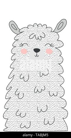 Hand drawn vector illustration of a cute funny llama face Scandinavian style flat design. Concept - Stock Photo