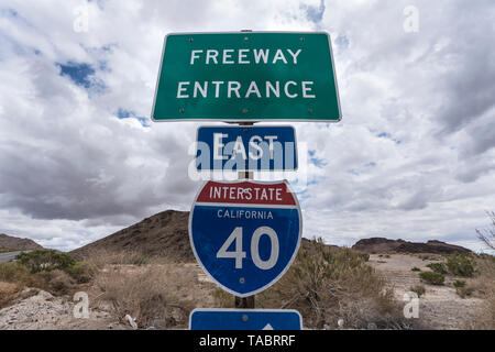 Interstate 40 east freeway on ramp sign near Mojave National Preserve in Southern California. - Stock Photo