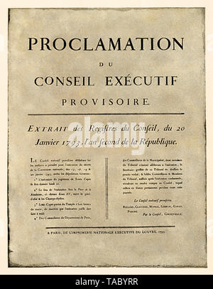 Announcement of the order of execution of Louis XVI, French Revolution, 1793. Halftone with a watercolor wash - Stock Photo