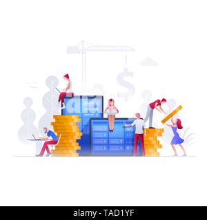 Vector illustration people are working on financial issues together on large screen and building a new achievements. Business finance, investment and  - Stock Photo