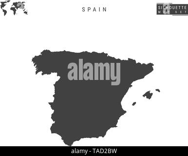 Spain Vector Map Isolated on White Background. High-Detailed Black Silhouette Map of Spain - Stock Photo