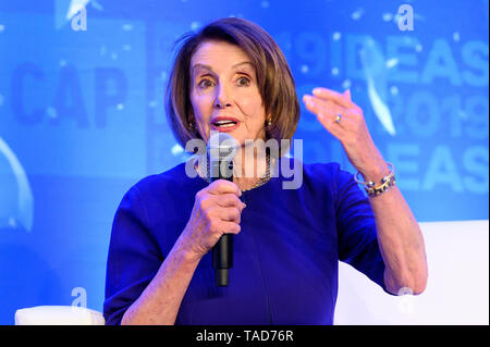 House Speaker Nancy Pelosi (D-CA) speaking at The Center for American Progress CAP 2019 Ideas Conference. - Stock Photo