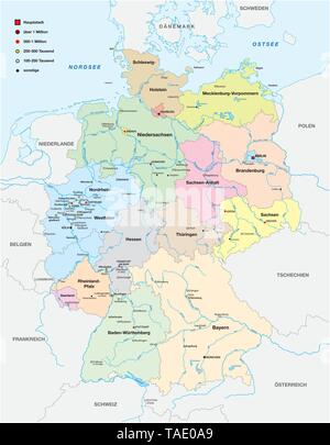 map of germany with all cities over one hundred thousand inhabitants in german language - Stock Photo