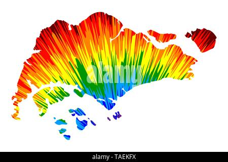 Singapore - map is designed rainbow abstract colorful pattern, Republic of Singapore map made of color explosion, - Stock Photo
