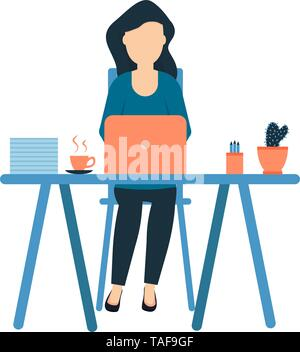 A young girl sits at the workplace, freelance designer, full-time office employee, cactus and a cup of coffee on the table, woman professional vector  - Stock Photo