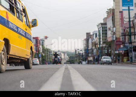 Traffic on a street in Bangalore, India. - Stock Photo