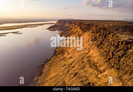 Magadi Lake, Rift Fault, Drone View, Kenya - Stock Photo