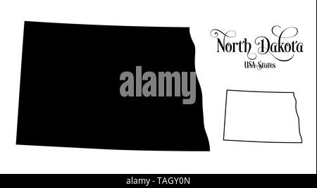 Map of The United States of America (USA) State of North Dakota - Illustration on White Background. - Stock Photo