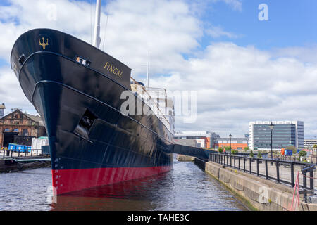 The MV Fingal, a luxury floating hotel permanently berthed in Leith Docks in Edinburgh - Stock Photo