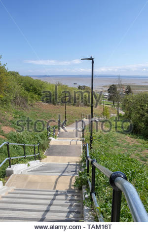 Steps leading down to the station at Leigh-on-Sea, Essex, England - Stock Photo