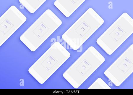 Background from Lot of Mockups white smartphones - Stock Photo