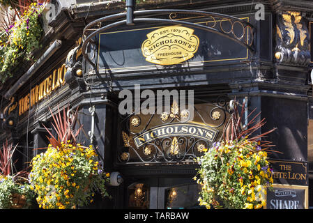 London, UK - May 14, 2019: Typical English pub at Covent Garden district . - Stock Photo