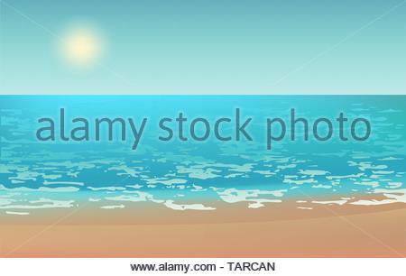 Beach view sea sun water sand summer - Stock Photo