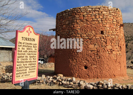 The old Torreon in Lincoln, New Mexico, served as protection against the Apaches and also played a role during the famous Lincoln County War - Stock Photo