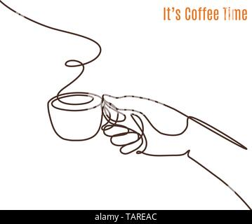 Vector coffee illustration drawn with one line. Hand with a cup of coffee. - Stock Photo