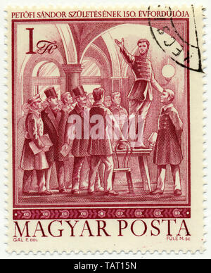 Historic postage stamps from Hungary, the poet and national hero Sandor Petrovic, Historische Briefmarke, der Dichter und Nationalheld Petrovic Sandor, 1975, Ungarn, Europa - Stock Photo