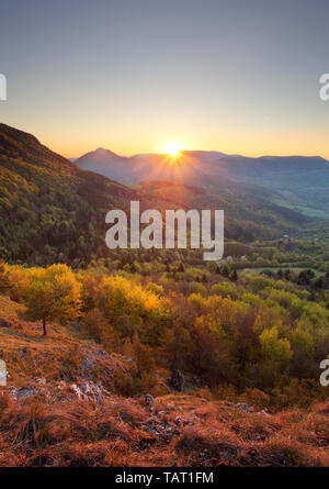 Sunrise in mountain, vertical photo - Stock Photo