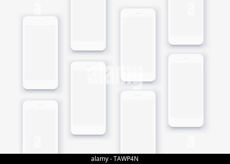 The background of the mockups of white smartphones - Stock Photo