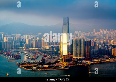 A View Of The International Commerce Centre and Hong Kong Skyline From Victoria Peak, Hong Kong, China - Stock Photo