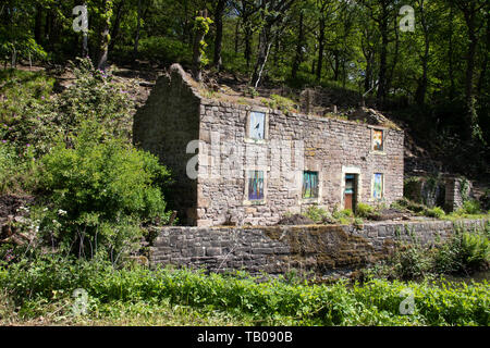 Old Abandoned and  Derelict Stone Cottage Building  on the Cromford Canal at High Peak Junction,Matlock, Derbyshire. England UK - Stock Photo