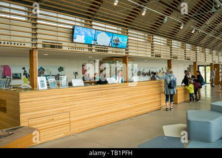 Tourist Information Centre at Le Mont Saint Michel site, Manche, Normandy, France - Stock Photo