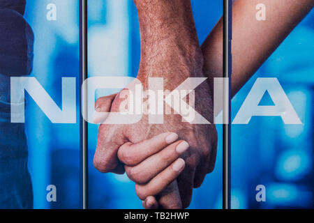 Cluj, Romania - May 13, 2019: Nokia Corporation, a Finnish multinational telecommunications, information technology, and consumer electronics company  - Stock Photo
