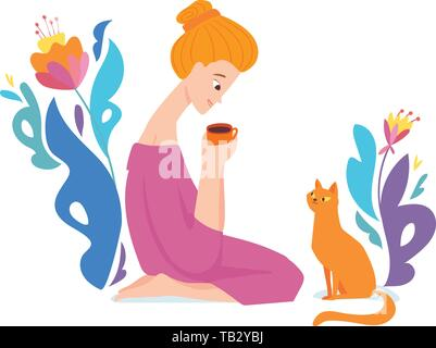 Vector floral design with a girl drinking coffee with her cat. - Stock Photo