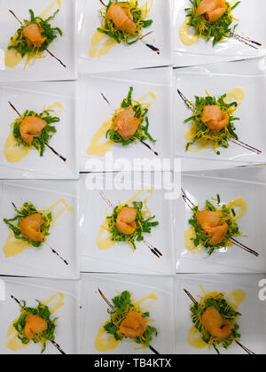 smoked salmon decorated with vegetables - Stock Photo
