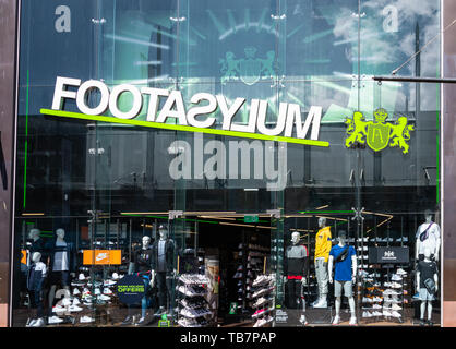 Swindon, United Kingdom - May 04 2019:   The Frontage of Footasylum shoe store in The Parade - Stock Photo
