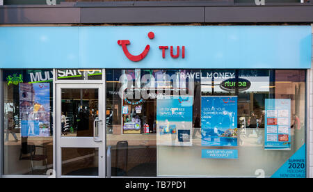 Swindon, United Kingdom - May 04 2019:   The Frontage of TUI Travel agent in The Parade - Stock Photo