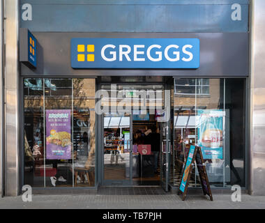 Swindon, United Kingdom - May 04 2019:   The Frontage of Greggs Bakery in Canal Walk - Stock Photo