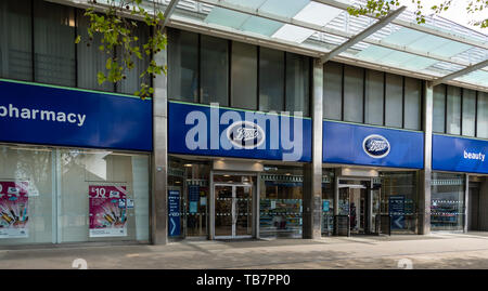 Swindon, United Kingdom - May 04 2019:   The Entrance to Boots Pharmacy on Canal Walk - Stock Photo