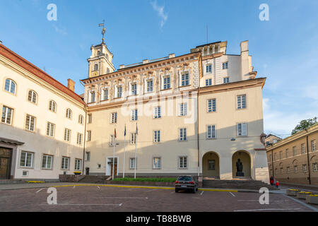 Vilnius, Lithuania. May 2019.   A view of the university of Vilnius palace - Stock Photo