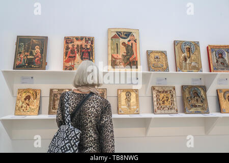 London, UK. 31st May, 2019. Religious Icons. Sotheby's Press Preview of Nineteenth Century Masterpieces, Rare Russian Avant-Garde Artworks and Exquisite Fabergé and Decorative Arts for the auction on 4th June Credit: amer ghazzal/Alamy Live News - Stock Photo