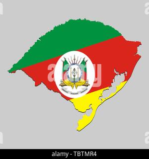 Map of Rio Grande do Sul is a state Brazil with national flag. Vector Illustration - Stock Photo