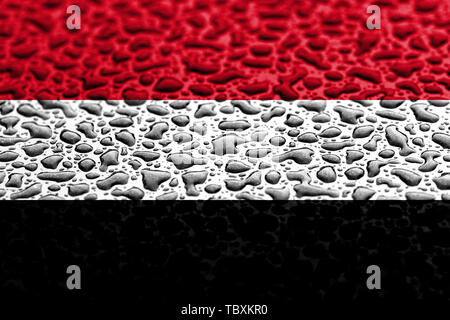 National flag of Yemen made of water drops. Background forecast concept. - Stock Photo