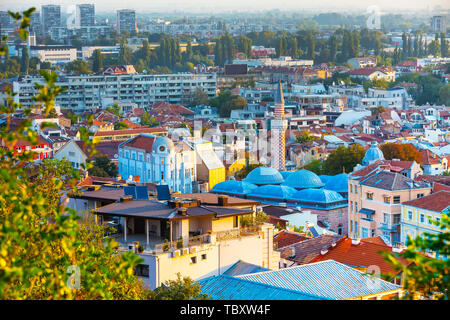 Plovdiv aerial skyline panorama, Bulgaria with Djumaya mosque tower and houses - Stock Photo