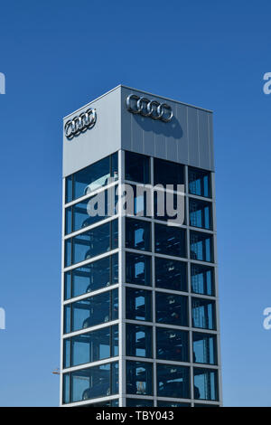 Autotower, Audi Centre, Rudower avenue, eagle court, Treptow-Köpenick, Berlin, Germany, Autoturm, Audi Zentrum, Rudower Chaussee, Adlershof, Deutschla - Stock Photo