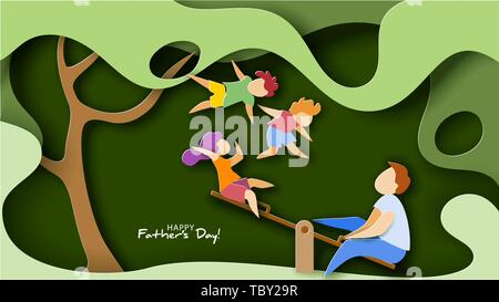 Father with children swinging on swing, kids fly high. Happy fathers day card. Paper cut style. Vector illustration - Stock Photo