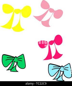 Set of colorful cute tied bows on white background, vector. - Stock Photo