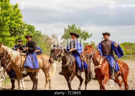 Kalocsa, Puszta, Hungary - May 23, 2019 : Hungarian Csikos horsemen displaying riding skills in traditional costume in countrside corral. - Stock Photo