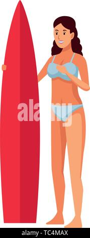 Isolated design of young girl with surf table - Stock Photo