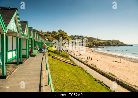 The sandy beach at Langland Bay  on the Gower peninsula, on a warm sunny spring day, Swansea, south Wales UK - Stock Photo