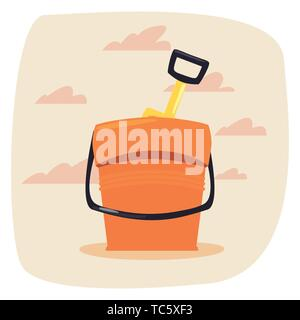 summer time holiday bucket and shovel vector illustration - Stock Photo
